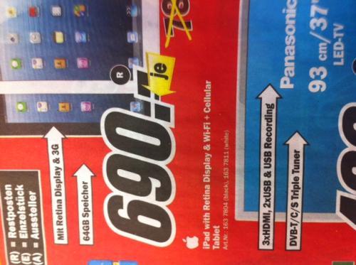 iPad4 64GB+Cellular 690 €