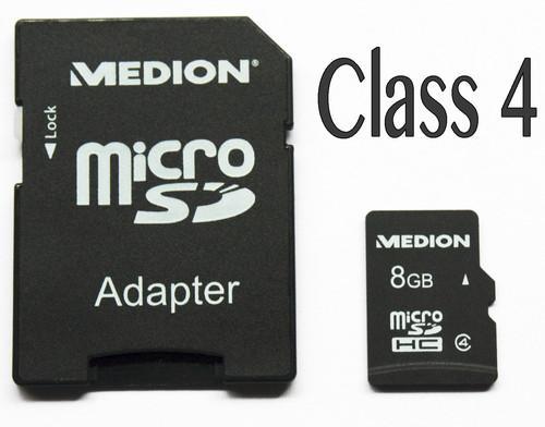 Medion 8GB microSDHC Speicherkarte Class 4 für nur 4,75 EUR inkl. Versand
