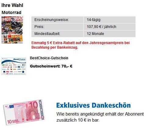 Jahresabo MOTORRAD für effektiv 22,90€ / MOTORRAD NEWS für 5€