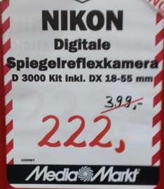 (lokal MM Dietzenbach) Nikon D3000 Kit 18-55mm 3,5-5,6 II