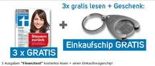 3x Stiftung Warentest (Finanztest) + Einkaufschip kostenlos