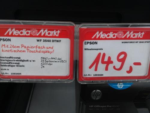 [Lokal]Epson WorkForce WF-3540DTWF [149€]  @Media Markt Berlin Alexa (+30€ Cashback und gratis 3 Jahre erweiterte Garantie)
