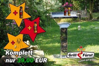 Edelstahl Grill + 2 Löwensenf Saucen + Grillbesteck