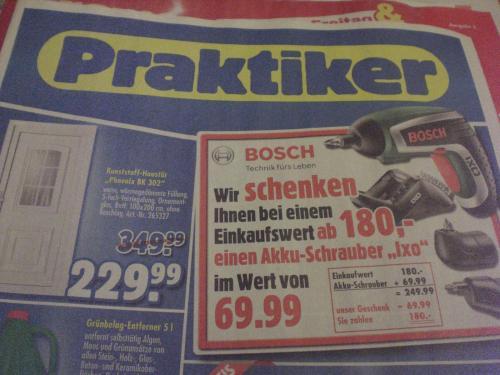Für 180€ (z.B Prepaid-Karten) bei Praktiker einkaufen, Bosch Akku-Schrauber IXO Set im Wert von 69€ geschenkt und 10€ Cashback