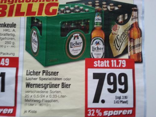 [Lokal Edeka Hessenring (Hessen/Thüringen/Niedersachsen)]  Kiste (24*0,33/20*0,5) Licher bzw. Wernesgrüner für 7,99€ (zzgl. Pfand)