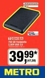 [Metro] Toshiba 750GB Festplatte 2,5er USB 3.0 METRO Samstags-Preisknüller 16.03.2013