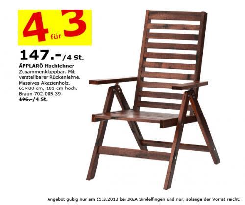 [LOKAL] 4 für 3 - Gartenstühle ÄPPLARÖ Hochlehner IKEA Sindelfingen am 15.3. - Spare 49 Euro