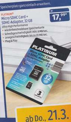 32GB micro SD Karte Class 6 mit Adapter ab 21.03. bei Aldi Süd
