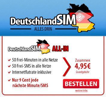 DeutschlandSim All-In 50 im D-Netz ohne Anschlußgebühr