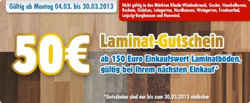 Praktiker 50€ Gutschein beim Kauf von Laminatboden ab  einem  Wert von 150€