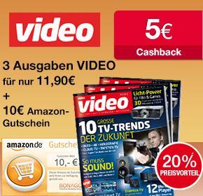 """[qipu] 3 x Zeitschrift """"Video"""" + 10 € Amazon und 5 € Cashback für 11,90 €"""