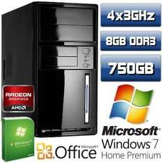 Quad Core Computer AMD QUAD A8 3870K 8GB 750GB Windows7 Premium 64 für 279€