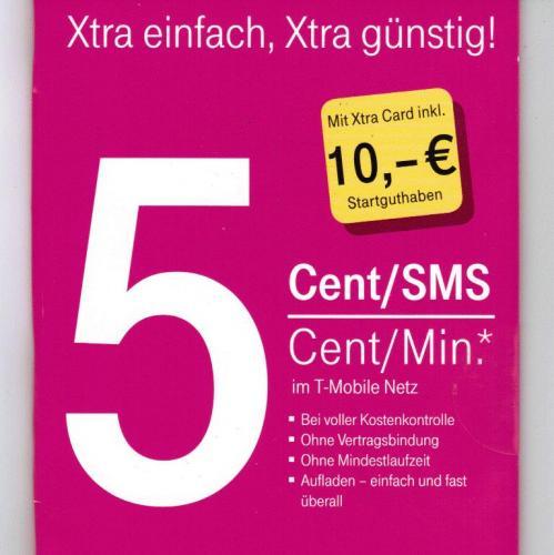 Original Telekom Xtra Prepaidkarte mit 10,00 € Startguthaben für nur 2 € (ohne Haken)