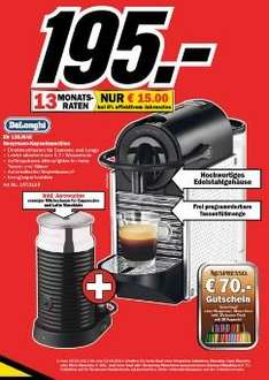 Nespresso DeLonghi EN 125.MAE effektiv 125€ - (70€ Gutschein) Media Markt