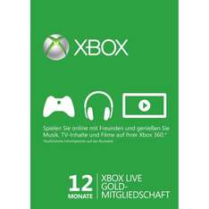 (Amazon) 12 Monate Xbox Live Gold für 33,- €