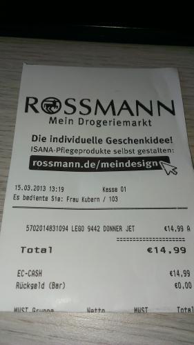 Lokal? Offline Rossmann Lego Ninjago 9442 Ray's Donner-Jet