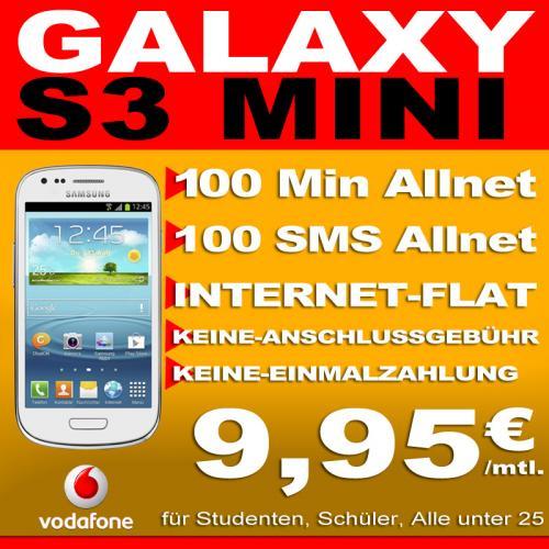 Samsung S3 Mini für mtl. 9,95 bei Vodafone inkl. 100 Freiminuten,100 Frei Sms und 200 MB Internet Flat