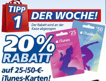 real,- ab 18.03.: 20% Rabatt auf 25€ oder 50€ iTunes-Karten; Ritter Sport 4 + 1 für 2,76