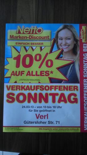 10% bei Netto in Verl am 24. ausgenommen Pfand, Tabakwaren, Zeitschriften, Geschenk -  Telefonkarten, Tchibo Sortiment