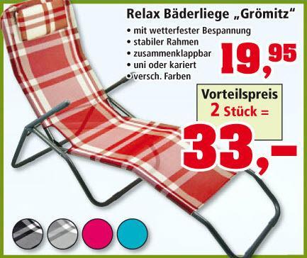 [Thomas Philipps] Relax Liege für den Garten im 2er Set nur 16,50 EUR je Liege, Smoker BBQ Grill 89,50 EUR, Kirschlorbeer je 1 EUR, Lounge Set für den Garten 199,50 EUR