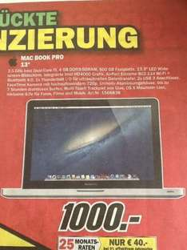 "[Lokal] MacBook Pro 13"" 500GB 4GB 2,5GHz Dual-Core i5 @Media Markt Bayreuth"