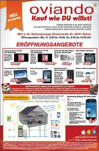 """[Lokal Rheine] Samsung Galaxy Tab 2 7"""" - 169€ und andere günstige TV, Spiele und mehr"""