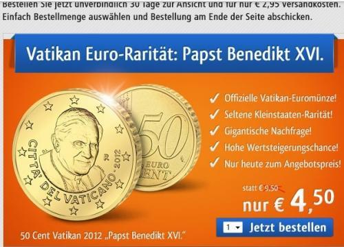 50 Cent Münze mit dem Portrait von Papst Benedikt XVI für 7,45€ bestellen und 750 Webcent = 7,50€ erhalten