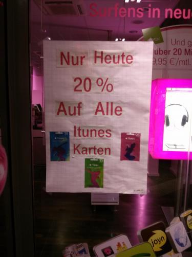[Lokal Jena] : 20% auf alle iTunes-Karten (GoeGa)