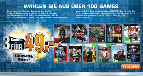 Amazon zieht bei Games und CDs/Blu-Rays mit --- Saturn Online und vor Ort: 3 Games für 49 Euro oder 3 CDs/Blu-Rays für 18 Euro oder 3 Download-Alben für 12 Euro (Aktionszeitraum: 20.03. bis 30.03.)