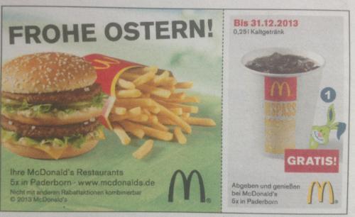 [Lokal Paderborn] Gratis Cola/Fanta Sprite etc. bei McDonalds Paderborn