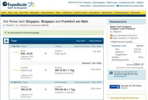 Error Fare LH: Schweiz - Singapur - Deutschland um 264 EUR!!!