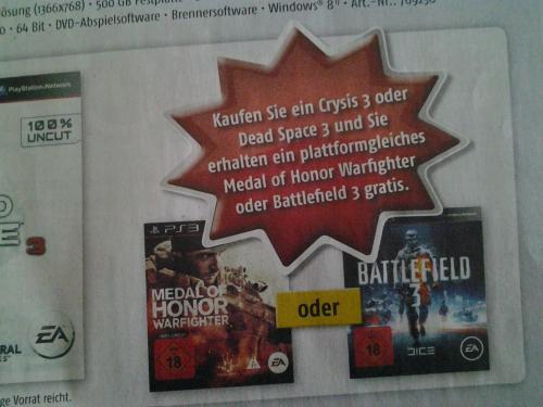 [MediMax] Crysis 3 oder Dead Space 3 plus MoH / Battlefield gratis