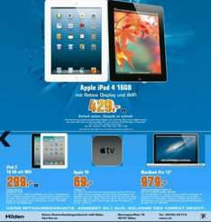 "Apple TV 69 Euro, iPad 2 16GB 299 Euro, iPad 4 16GB 429, MacBook 13"" 979 Euro (Local in Hilden ab 21.03.)"