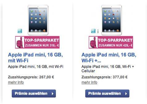 iPad mini 16gb wifi 319€ + kostenlos 1 Jahr TV Spielfilm, bzw. 429€ 3G + TV Spielfilm