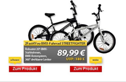 2Fast4You BMX-Fahrrad STREETFIGHTER in weiß oder schwarz ( 89,99 € - vk-frei)