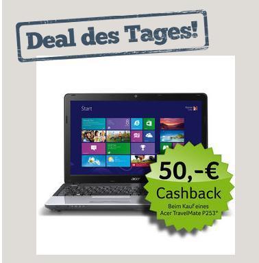 Acer TravelMate P253-E-B9604-Deal des Tages bei nbb mit 50 Euro cashback für eff. 299 Euro