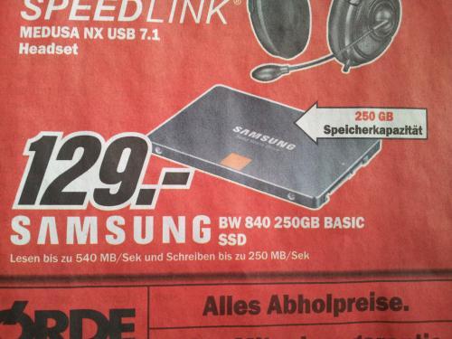 Nur 129€ für Samsung SSD 840 Series 250GB Basic @ MediaMarkt