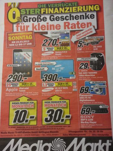 [Lokal] Verkaufsoffener Sonntag 24.03. beim MediaMarkt Göttingen - iPad mini 16GB WiFi 290,-€ u.a.