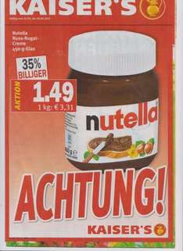 Nutella ab 25.03.2013 bei Kaisers (Bundesweit?)