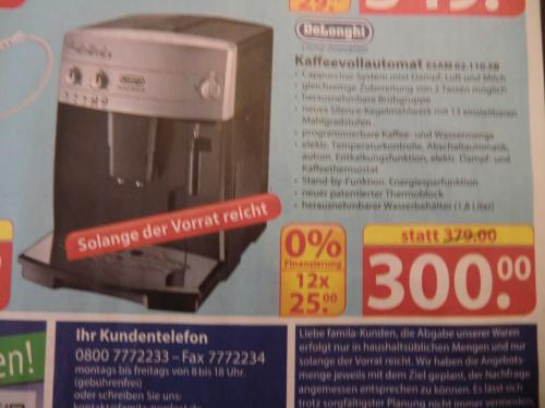 DeLonghi Kaffeevollautomat Magnifica  (ESAM 02.110.SB) --> OFFLINE Famila Löhne