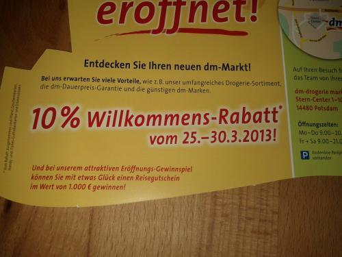 Lokal Potsdam 10% Rabatt bei dm Neueröffnung Sterncenter