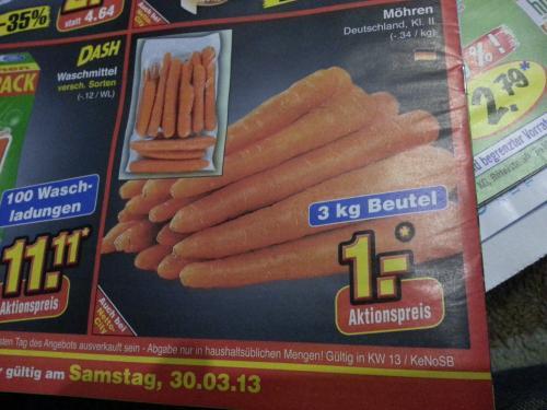 3 Kg Möhren für 1,-€ @Netto Marken-Discount