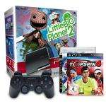 @OFFLINE Real: PS3 Slim 320GB + Little Big Planet 2 + Top Spin 4 + PES 2010 + 2. Dual Shock Controller