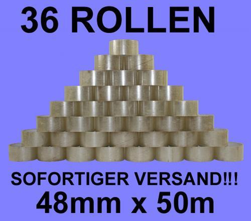 36 Rollen Packband Paketband Klebeband braun oder transparent