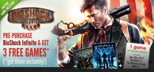 Bioshock Infinite + Xcom + Bioshock + 1 weiteres Spiel bei GMG 37,50€ bzw. 28,15€