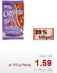 [Lokal Süddeutschland] [Kaufland] Milka Crispello (150g, Vanille oder Schoko) für 59 Cent [mit Rabattcoupon]