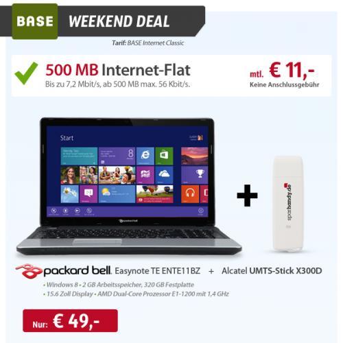 Packard Bell Easynote TE ENTE11BZ (Win8) & Base internet Flat mtl. 11€ zzgl. einmalig 49 € = 313 € @ sparhandy