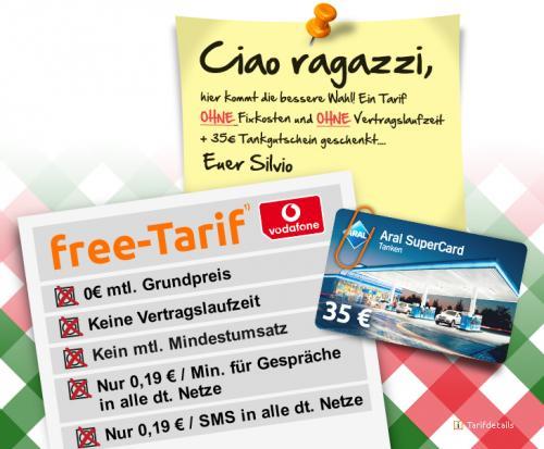 Kostenlose Vodafone free Tarif Sim-Karte +35€ Aral Tankgutschein. @Crash-Tarife