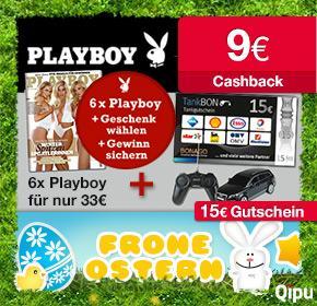 6x Playboy für 33€ mit 9€ Cashback + 15€ Tankgutschein