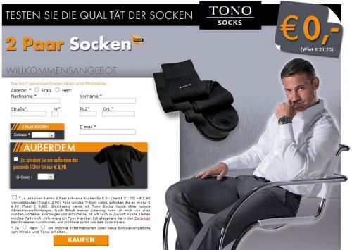 2 Paar TONO Socken für 2,90 EUR (Wert 21,20)